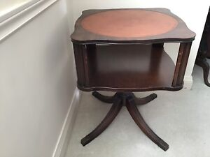 ANTIQUE LAMP TABLE with LEATHER INSET