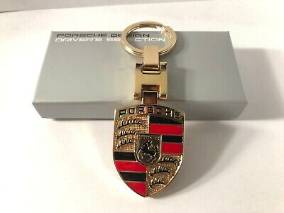 PORSCHE Two Side Crest Keyfob Keyring Keychain METAL GOLD NEW CREST CHROME New