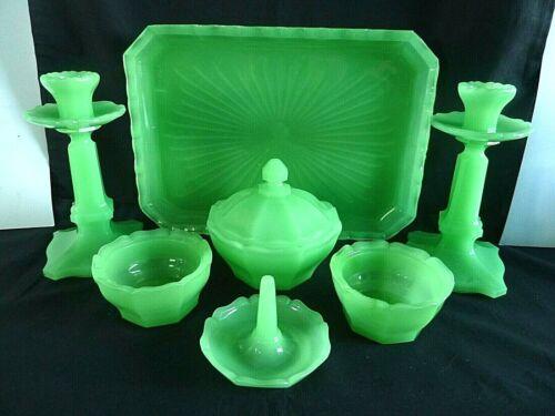 Vintage Art Deco Reich Viktoria Jadeite Uranium Glass Dressing Table Vanity Set