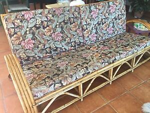 3 seater cane sofa with 2 matching chairs - dark floral Yorkeys Knob Cairns City Preview