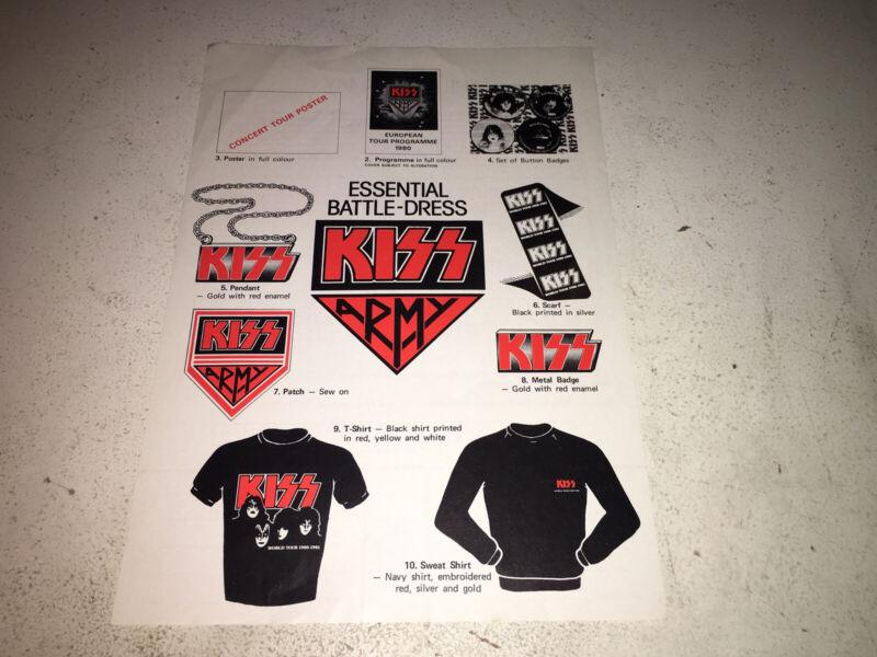 KISS - 1980 Aucoin Tour Ordersheet
