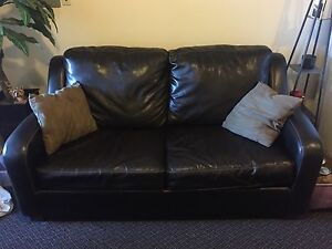 Dark Brown Leather Couch (Pull Out)