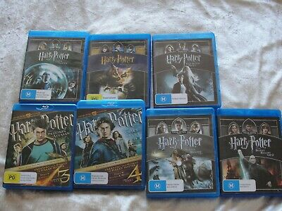 HARRY POTTER  1,3,4,5,6,7,8 ON BLU RAY  VGC REGION B SUPERB EXTRAS DTS   AUDIO