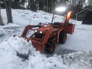 Diesel kubota tractor with snowblower and loader