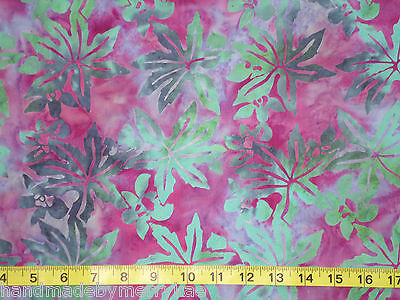 Komo Bali Batik Indonesia Cotton Fabric Leaves Fuchsia Green Sewing  Quilt Bthy