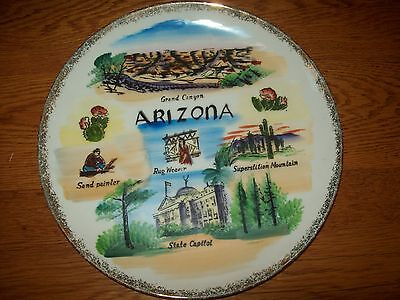 Vintage Travel Souvenir Collector Plate Arizona Painted Grand Canyon Sticker