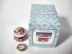 Madame Alexander Dolls  - Pretty Hat Box with Clock Porcelain Hinged Box