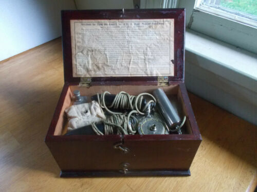 BUNNELL HOME MEDICAL APPARATUS QUACK SHOCK MACHINE IN ORIGINAL WOOD BOX 1890s