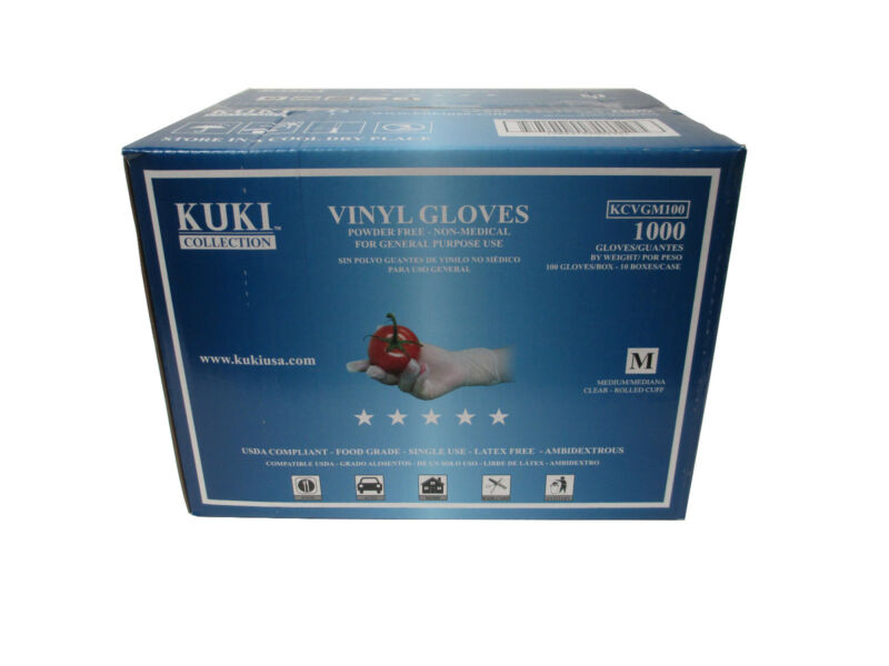 Disposable Vinyl Gloves - Medium - Case of 1000 - Kuki Collection