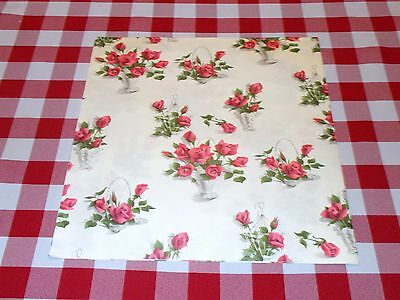 VINTAGE FLORAL ROSES WRAPPING PAPER GIFT WRAP GORGEOUS 1950 MOTHER'S DAY