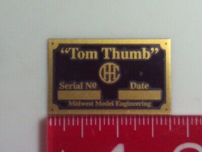 Model Ihc Tom Thumb Engine Brass Name Plate Tag Nameplate