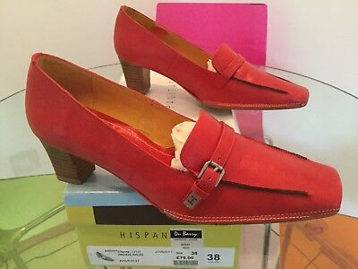 Hispanitas Shoes Loafer Red Leather Size 38 New/boxed Rrp £75.00