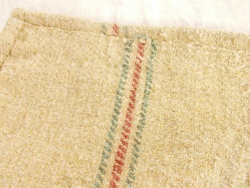 Vtg Antique TEAL & ROSE STRIPE HEMP LINEN King Pillowcase FEED SACK GRAIN BAG