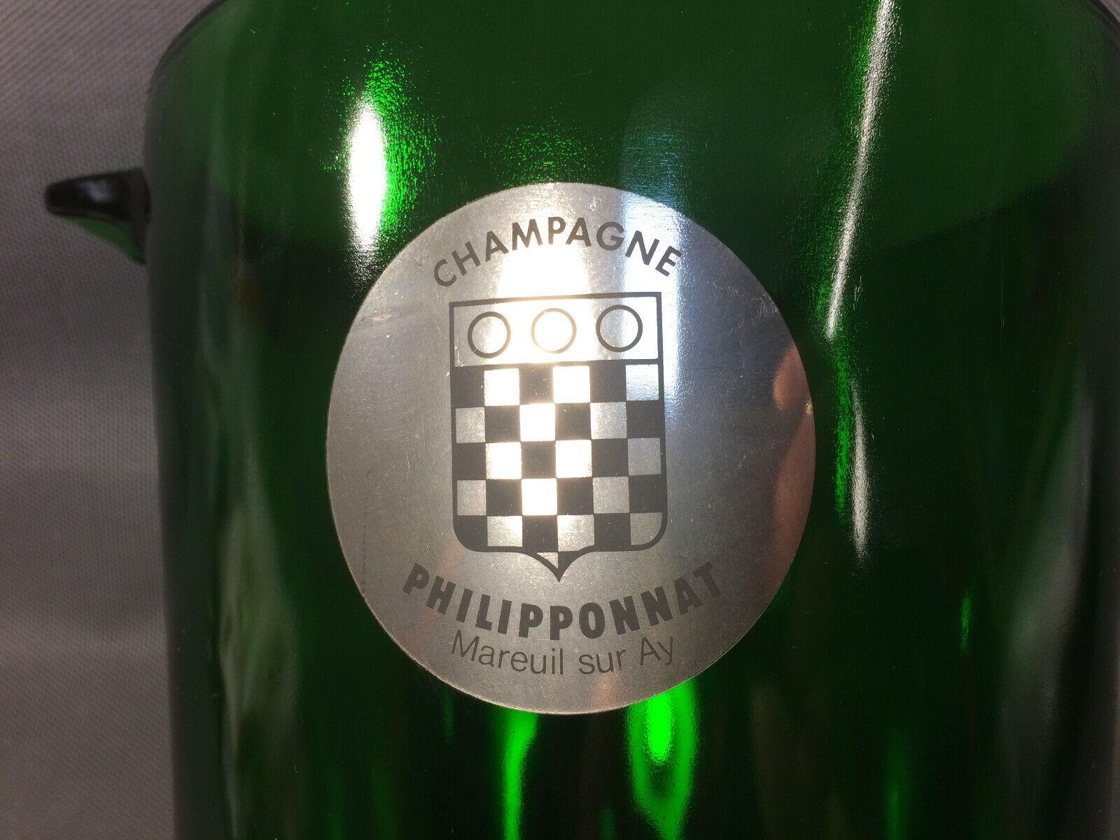 Ancien seau à champagne ou vin en verre vert philipponnat mareuil sur ay vintage