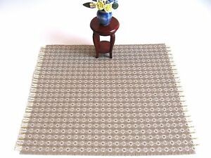 dollhouse doll house miniature WOVEN RUG CARPET ACCENT TAUPE CIRCLES WEAVE