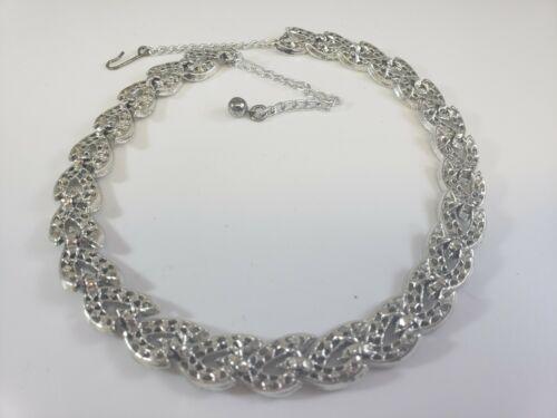 AMAZING Vintage AB Rhinestones  Silver Tone Collar  Braided ELEGANT  Necklace