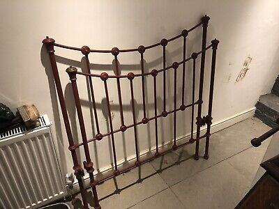 ANTIQUE FRENCH IRON 4ft BED c1900 Painted Red