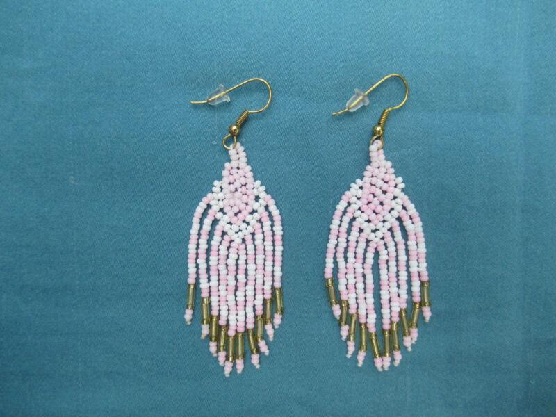 Dayak Borneo Sarawak Malaysia Pink Gold White Beaded Earrings Tribal French Hook