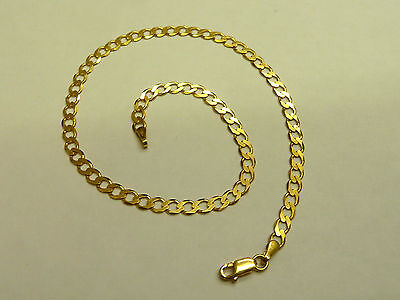 NEW 9ct Solid Yellow Gold Curb Link Anklet 10 inches  CH194 2.9 grams