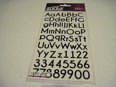 Scrapbooking Crafts Sticko Stickers Alphabet Black Thin Numbers Big Small - Letter Stickers