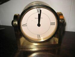 Tiffany & Co Solid Brass Desk Table Top Swing Mantel Clock Made in Switzerland