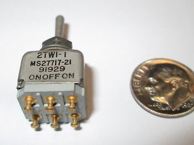 Micro Switch Mil-spec Toggle Switch Dpdt On-off-on 2tw1-1 Ms27717-21  Nos