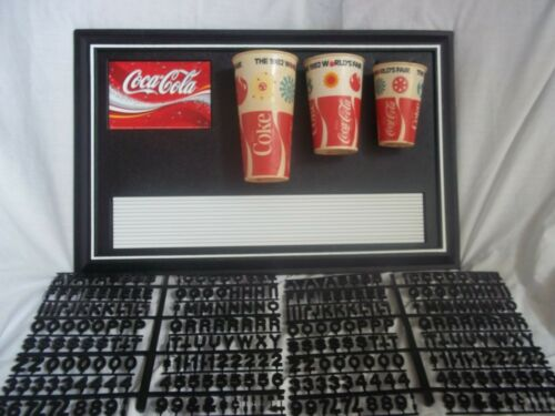 Coca-Cola menu board Paper Cup Display w/2 sets of Coke Black letters,numbers