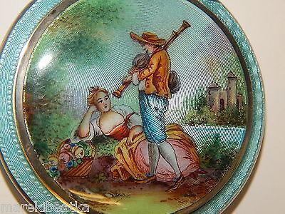 ANTIQUE ITALIAN  800 SILVER AND BLUE  GUILLOCHE / ENAMEL , LOVERS SCENE