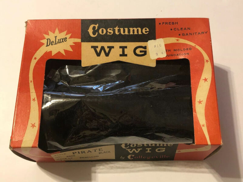Vintage Halloween Pirate Costume Wig in Original Box by Collegeville USA Made