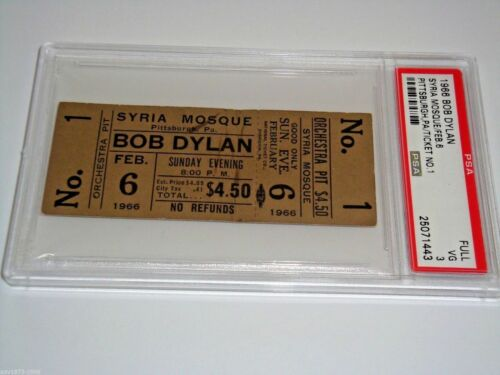 BOB DYLAN 1966 PSA AUTHENTICATED VINTAGE UNUSED CONCERT TOUR No. 1 TICKET Hawks