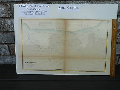 Hand Color Navagational Chart Charleston South Carolina 1854 Coast Survey Chart