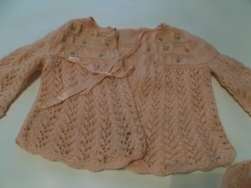 VINTAGE BABY DOLL GIRL PINK  SWEATER, HAND KNIT SOFT WOOL