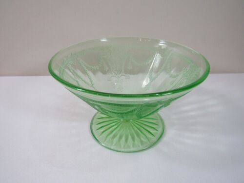 """Green Depression Glass """"Cameo""""  Mayonnaise Comport"""