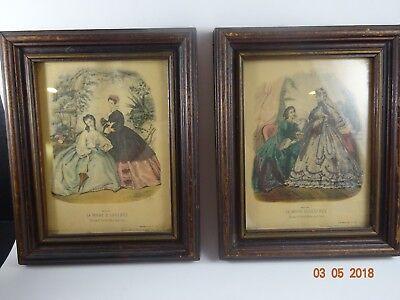 Set of 2 Vintage La Mode Illustree Framed Prints  Reproductions Fashion  for sale  North Richland Hills