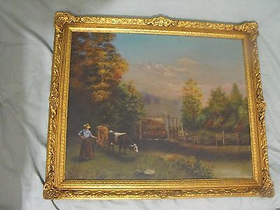 Antique 19th C. Oil on Canvas Painting Landscape with Cows