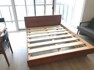 Teak MCM Queen Bed Frame