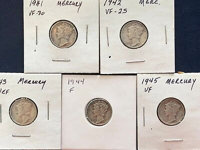 Five Mercury Dimes - 1941P,1942P,1943P,1944P,1945P - All rated F-VF+       f