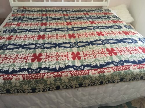 Antique Late 1856 Jacquard Coverlet 80 by 72. 3 color. OHIO. Eagle, Pine Trees