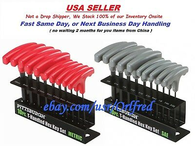 20 Pc. Allen T Handle Wrench Metric And SAE Allen Hex Key Set, Color Coded, Xmas