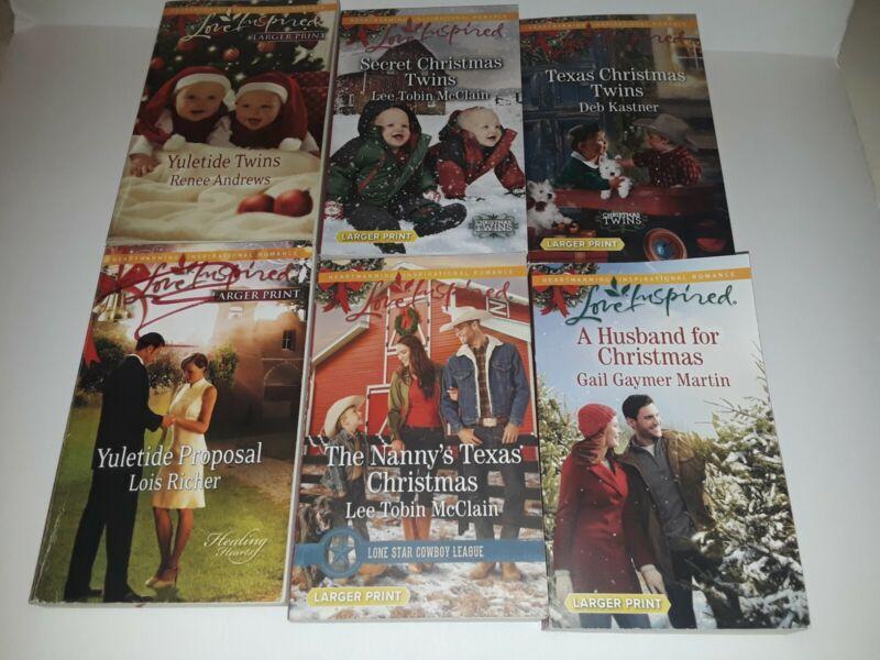 Lot of 6 Love Inspired Christmas Books, LARGER PRINT Inspirational Romance Set