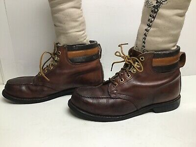 VTG MENS IRON AGE STEEL TOE MOCCASIN WORK BROWN BOOTS SIZE 9?