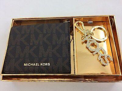 New Authentic Michael Kors Jet Set Travel Logo Carryall Wallet Key Chain Set Box