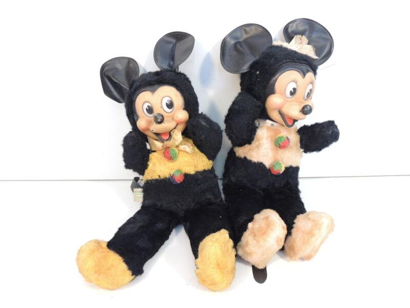 "Gund Walt Disney Mickey and Minnie Mouse Pair Plush Stuffed Toy 12"" Tall Vintage"