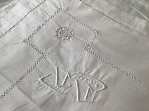 Lovely Antique/Vintage French pillow sham cotton Asian Monogram Character