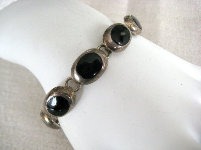 ESTATE BOLD STERLING SILVER NATURAL BLACK ONYX LINK BRACELET HAND MADE MEXICO