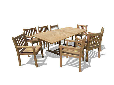 """Windsor Premium Grade A Teak 82""""x39"""" Rect Extension Table w6 Majestic Arm Chairs"""