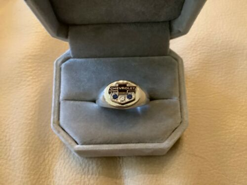14K CHEVROLET Diamond and Sapphires on Sterling Signet Ring