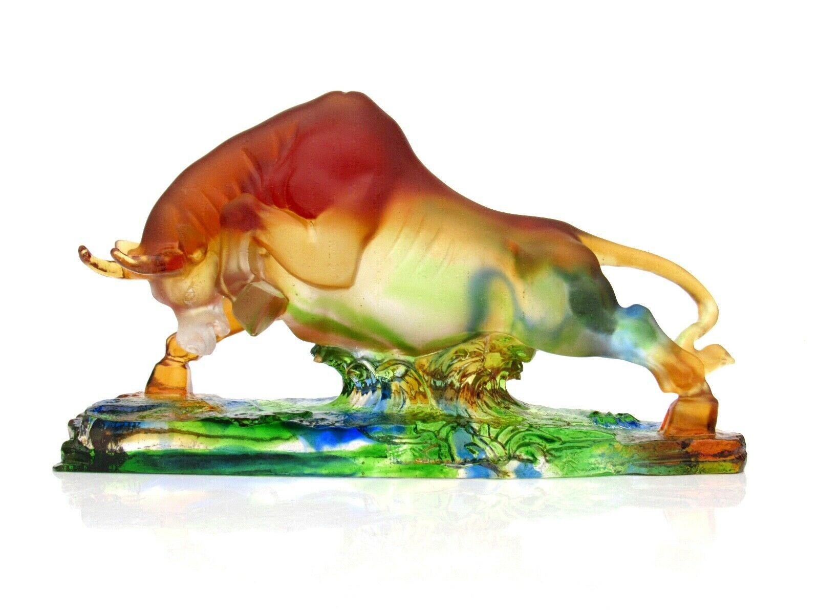 Huge Extraordinary World Class French Art Glass Bull Sculpture Unusual Colours