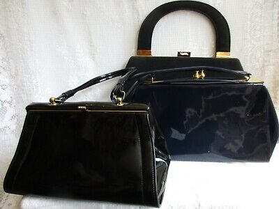 3 X VINTAGE 1960'S KELLY BAGS - BLACK & BLUE PATENT AND BLACK FABRIC