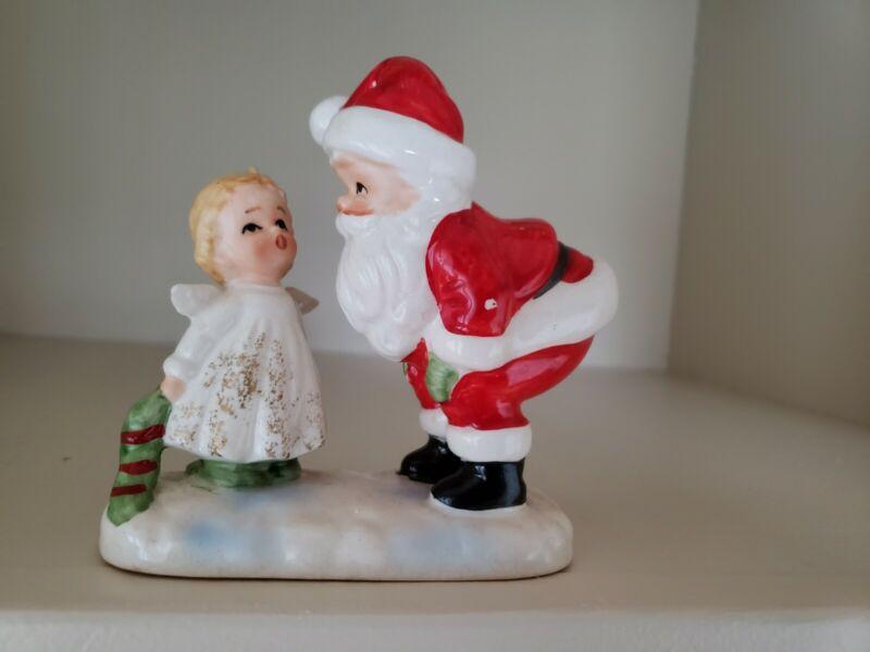 VINTAGE LEFTON CHRISTMAS CERAMIC LITTLE GIRL ANGEL WITH SANTA FIGURINE-ADORABLE!